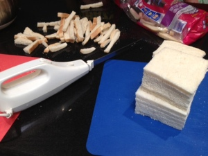 When you are cutting the crusts off 35 slices of bread, it's handy to have an electric knife!